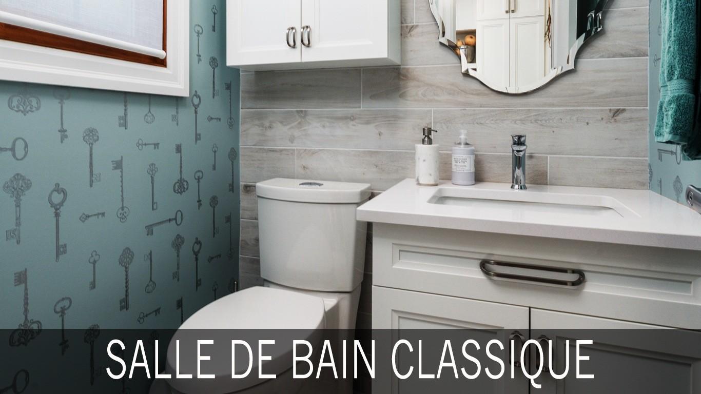 Salle de bain classique avec comptoir en quartzite for Comptoir de salle de bain